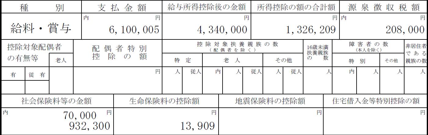 平成29年源泉徴収票(6年目)